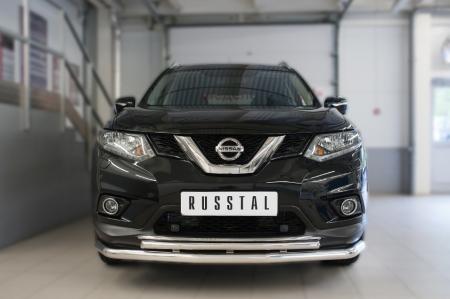 Nissan X-Trail 2015 Защита переднего бампера d63 (секции) d42 (дуга) NXZ-002081